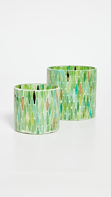 Gift Boutique Verte Set of 2 Mosaic Tealight Candle Votives