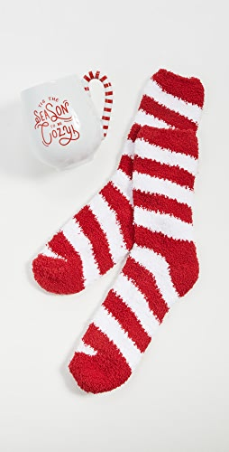 Gift Boutique - Holiday Cheer Mug and Candy Cane Stripe Socks Set