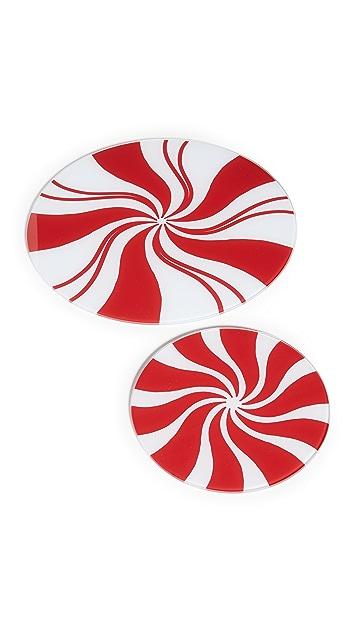礼物精品馆 Peppermint 扭纹托盘 2 件套