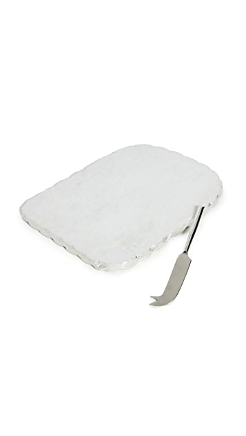 Gift Boutique White Marble Cheese Set