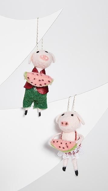 Gift Boutique Watermelon Pig Ornaments
