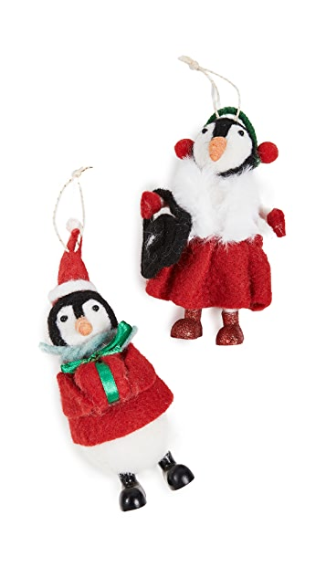 Gift Boutique Set Of 2 Penguin Ornaments