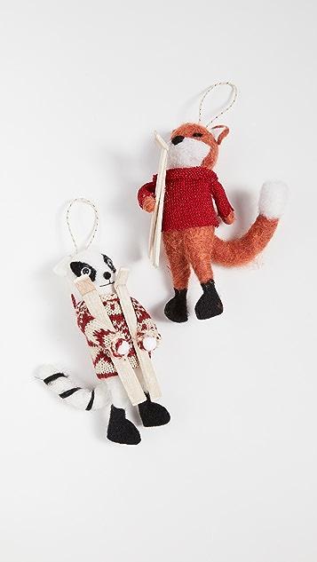 礼品精品店 护理和浣熊装饰两件套