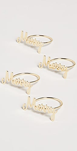 Gift Boutique - Set of 4 Merry Napkin Rings