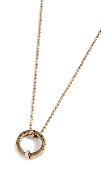 Giles & Brother Railroad Spike Ring Ball Chain Necklace