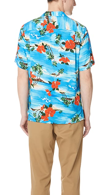Gitman Vintage Short Sleeve Blue Aloha Shirt