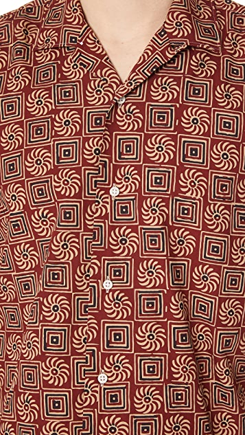 Gitman Vintage Short Sleeve Burgundy Batik Shirt