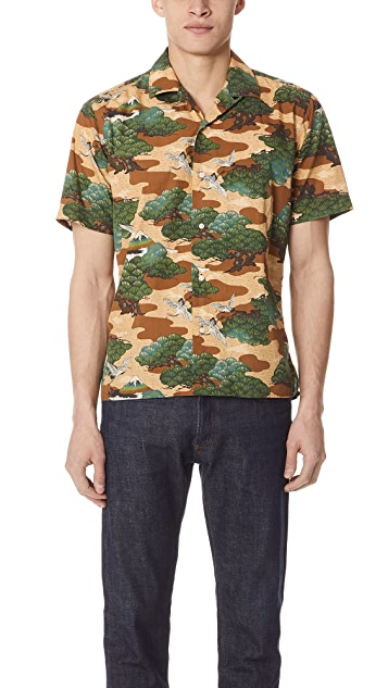 Gitman Vintage Fuji Crane Shirt with Short Sleeves