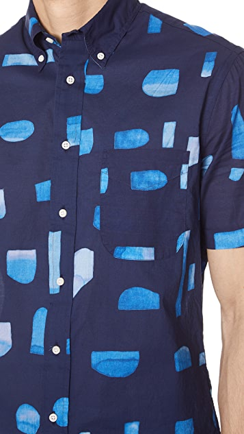 Gitman Vintage Abstract Blues Shirt with Short Sleeves