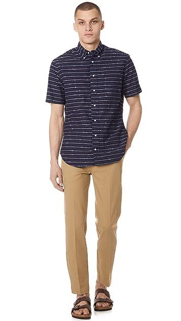 Gitman Vintage Long Sleeve Indigo Barre Shirt