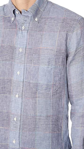 Gitman Vintage Long Sleeve Linen Check Shirt