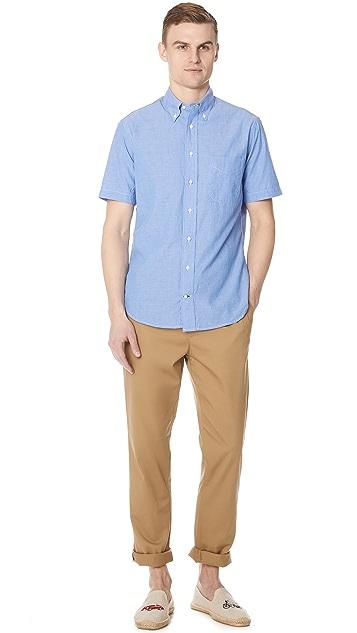 Gitman Vintage Short Sleeve Blue Chambray Shirt