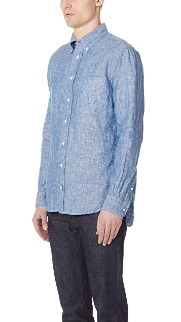 Gitman Vintage Long Sleeve Linen Chambray Shirt