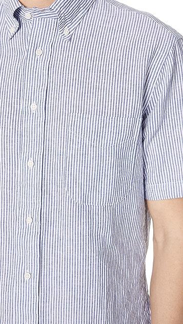 Gitman Vintage Short Sleeve Linen Stripe Shirt