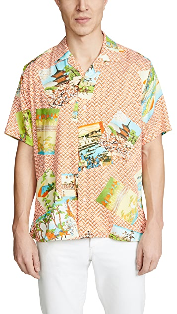 Gitman Vintage BD Mountain Print Shirt - Camp Collar