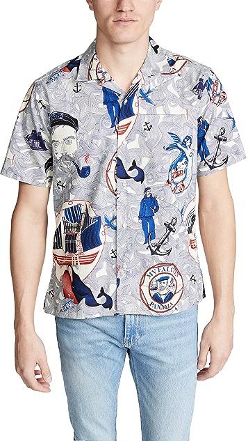 Gitman Vintage Ss Bd Sailor Shirt - Camp Collar