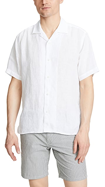 Gitman Vintage White Linen Button Down Shirt