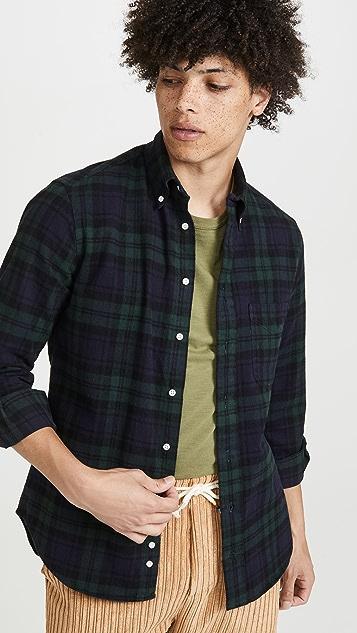 Gitman Vintage Shaggy Brushed Blackwatch Oxford Button Down Shirt