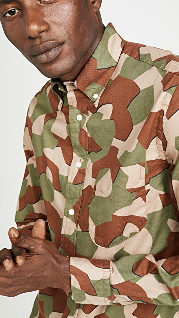 Gitman Vintage Peruvian Geometric Camo Oxford Button Down Shirt