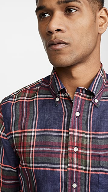 Gitman Vintage Neon Linen Madras Long Sleeve Shirt