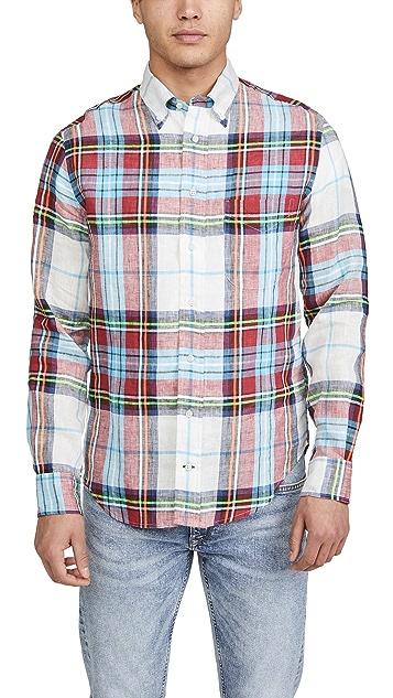 Gitman Vintage Neon Linen Madras Long Sleeve Shirt