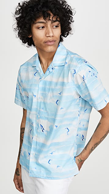 Gitman Vintage Rockaway Beach Print Camp Collar Shirt