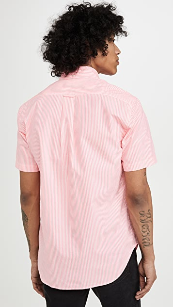 Gitman Vintage Neon Oxford Stripe Short Sleeve Shirt