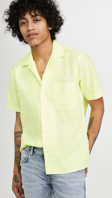 Gitman Vintage Neon Oxford Stripe Camp Collar Shirt