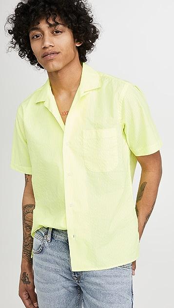 Gitman Vintage Neon Oxford Stripe Camp Collar Shirt