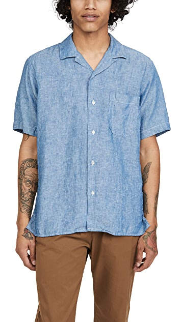 Gitman Vintage Chambray Linen Camp Collar Short Sleeve Shirt