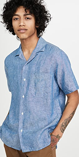 Gitman Vintage - Chambray Linen Camp Collar Short Sleeve Shirt