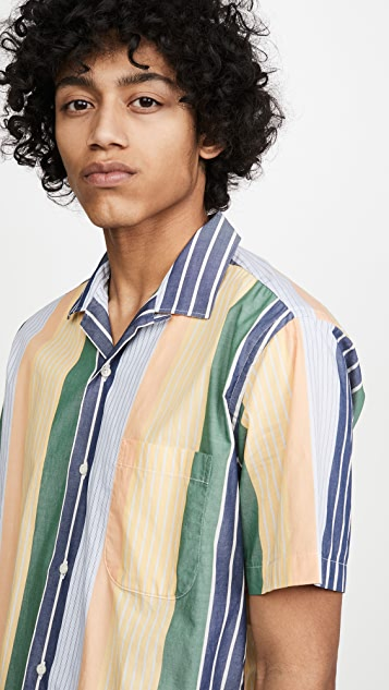 Gitman Vintage Cotton Awning Stripe Camp Collar Shirt