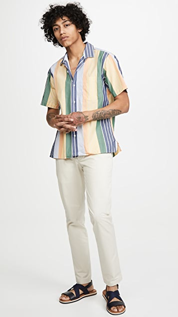Gitman Vintage Cotton Awning Stripe Camp Collar Shirt