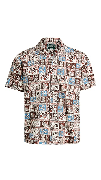 Gitman Vintage Botanical Block Print Camp Shirt