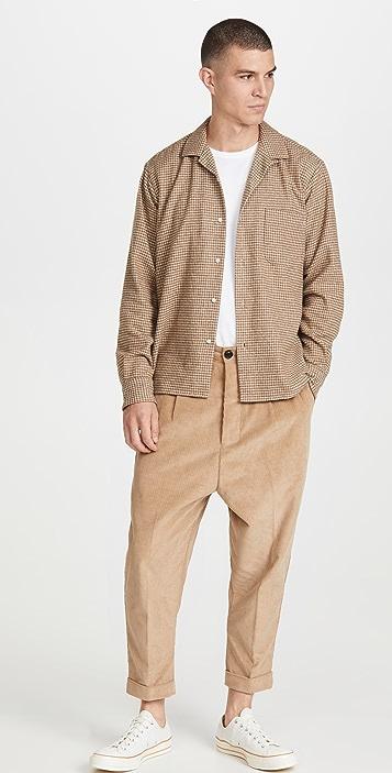 Gitman Vintage Houndstooth Tripe Twist Yarn Camp Collar