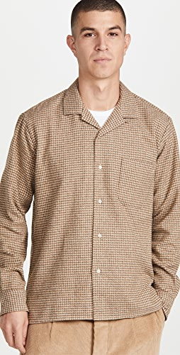 Gitman Vintage - Houndstooth Tripe Twist Yarn Camp Collar