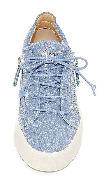 Giuseppe Zanotti Glitter Lace Up Sneakers