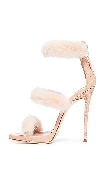 Giuseppe Zanotti Coline Sandal Heel with Fur