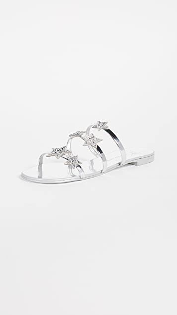 Giuseppe Zanotti Flat Star Sandals - Argento