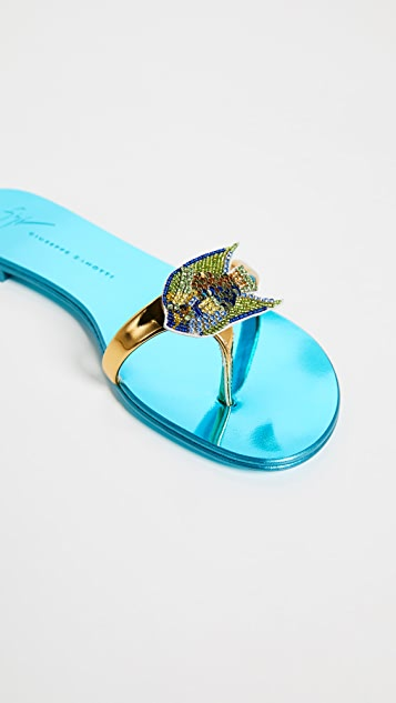Giuseppe Zanotti Flat Metallic Sandals