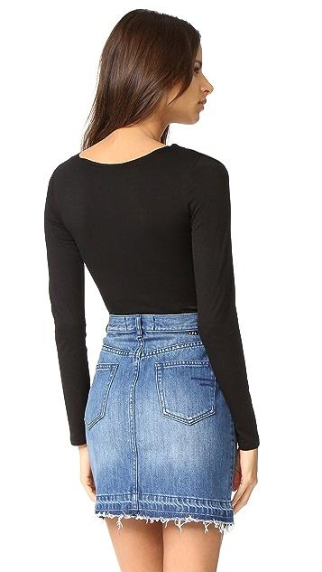 Glamorous Lace Up Long Sleeve Bodysuit
