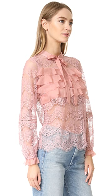 迷人无限 荷叶边蕾丝女式衬衫