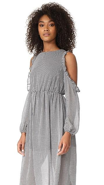 Glamorous Gingham Cold Shoulder Dress