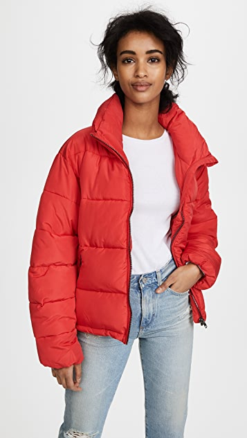 Glamorous Cropped Puffer Coat - Red