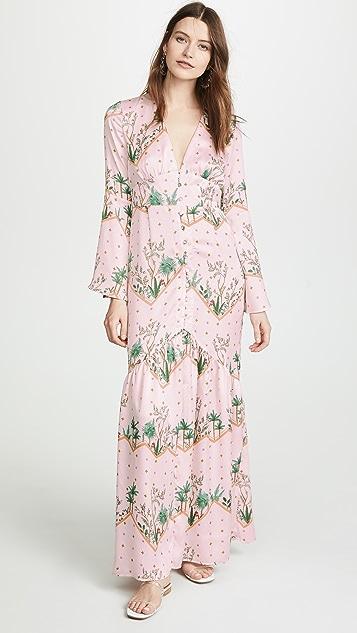 Glamorous Pink Green Palm Dress