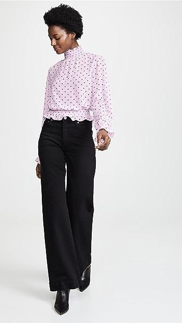 Glamorous Lilac Green Spot Top