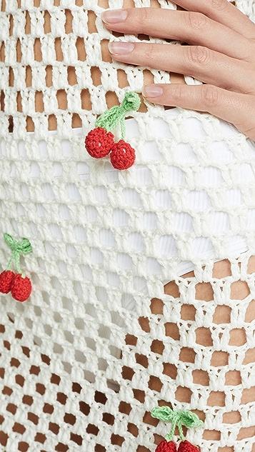 Glamorous Crochet Cherry Dress