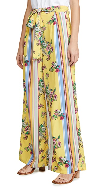 Glamorous Yellow Floral Stripe Trousers