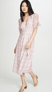 Pink Ditsy Organza Midi Dress