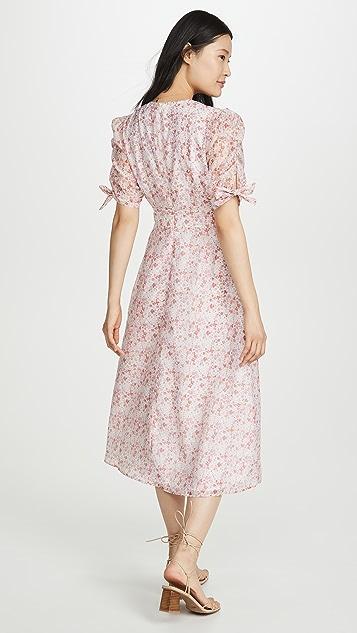 Glamorous 粉色小花透明硬纱中长连衣裙